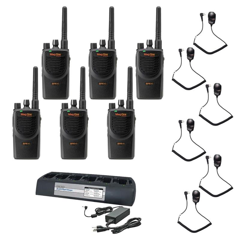 Motorola BPR40 6 Pack with Endura Multi-Charger and Speaker Mics