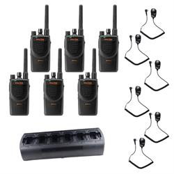 Motorola BPR40 6 Pack with Multi-Charger and Speaker Mics