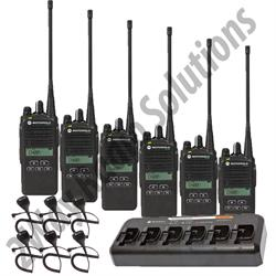 Motorola CP185 Radio 6 Pack with Multi-Charger and Speakr Mics