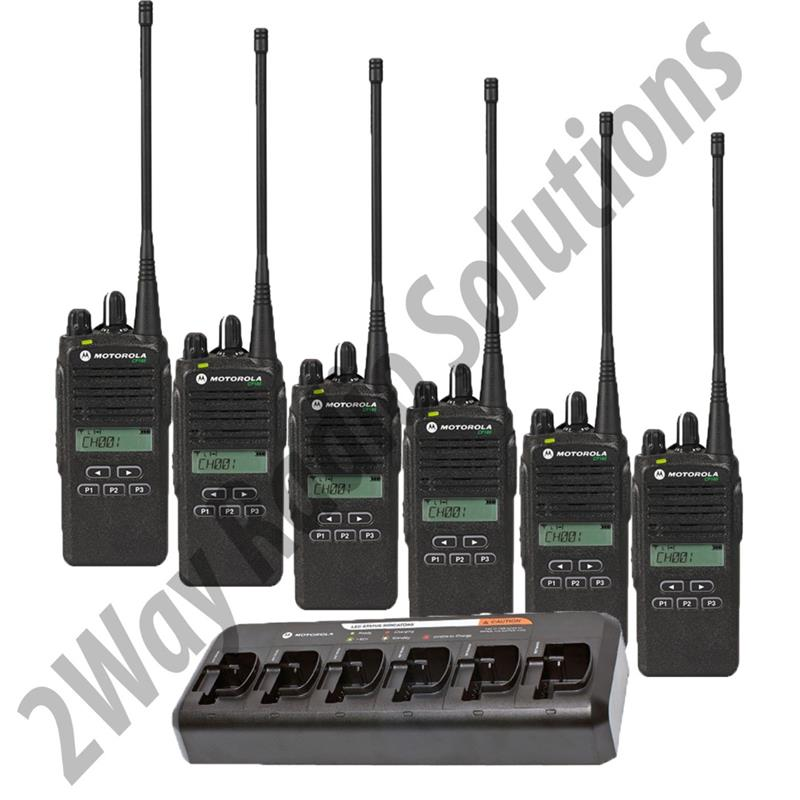 Motorola CP185 Radio 6 Pack with Multi-Charger