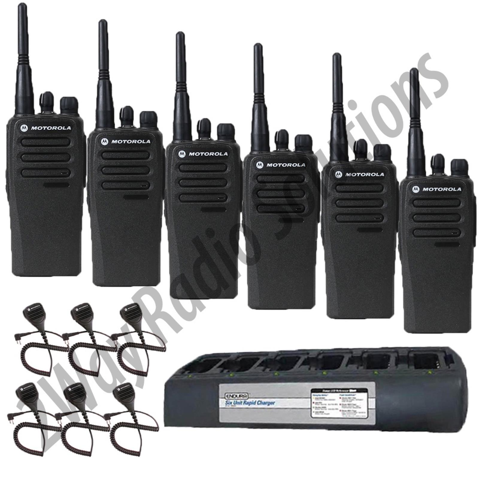 Motorola CP200d Radio 6 Pack with Endura Multi-Charger and Speaker Mics
