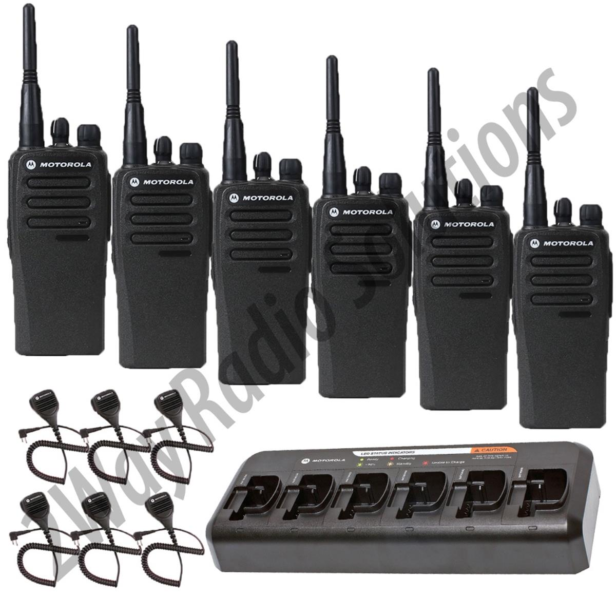 Motorola CP200d Radio 6 Pack with Multi-Charger and Speaker Mics