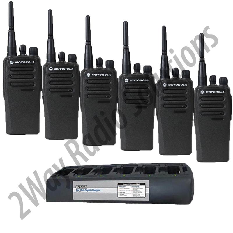 Motorola CP200d Radio 6 Pack with Endura Multi-Charger