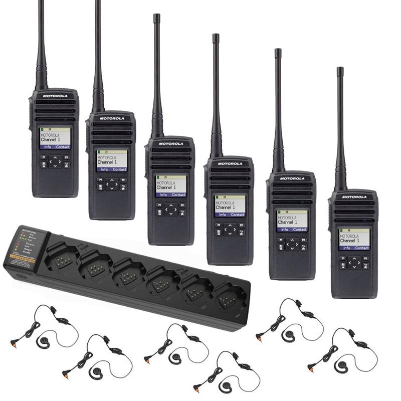 Motorola DTR700 6 Pack with Multi-Charger and Headsets