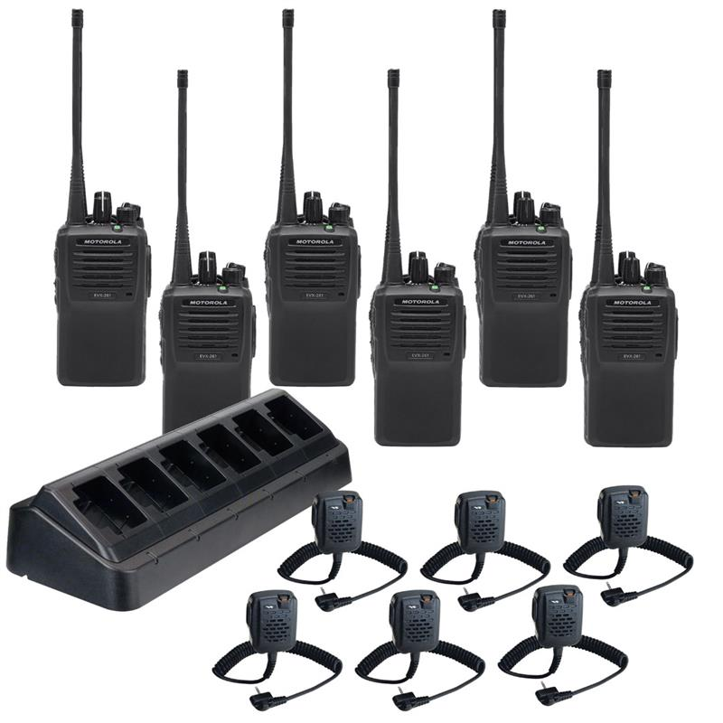 EVX-261 6 Pack with Multi-Charger and MH-45b4b Speaker Mics