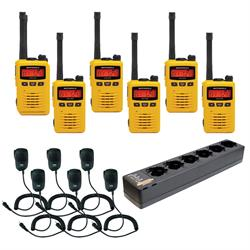 EVX-S24 6 pack with Multi-Charger and Speaker Mics yellow