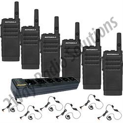 Motorola SL300 Radio 6 Pack with Multi-Charger and Headsets