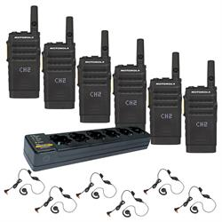 Motorola SL300 6 Pack with Multi-Charger and Headsets