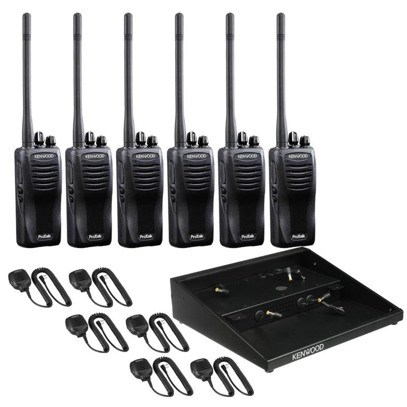 Kenwood TK-2400 and TK3400 6 Pack with Multi-Charger and 6 Speaker Mic KMC-45