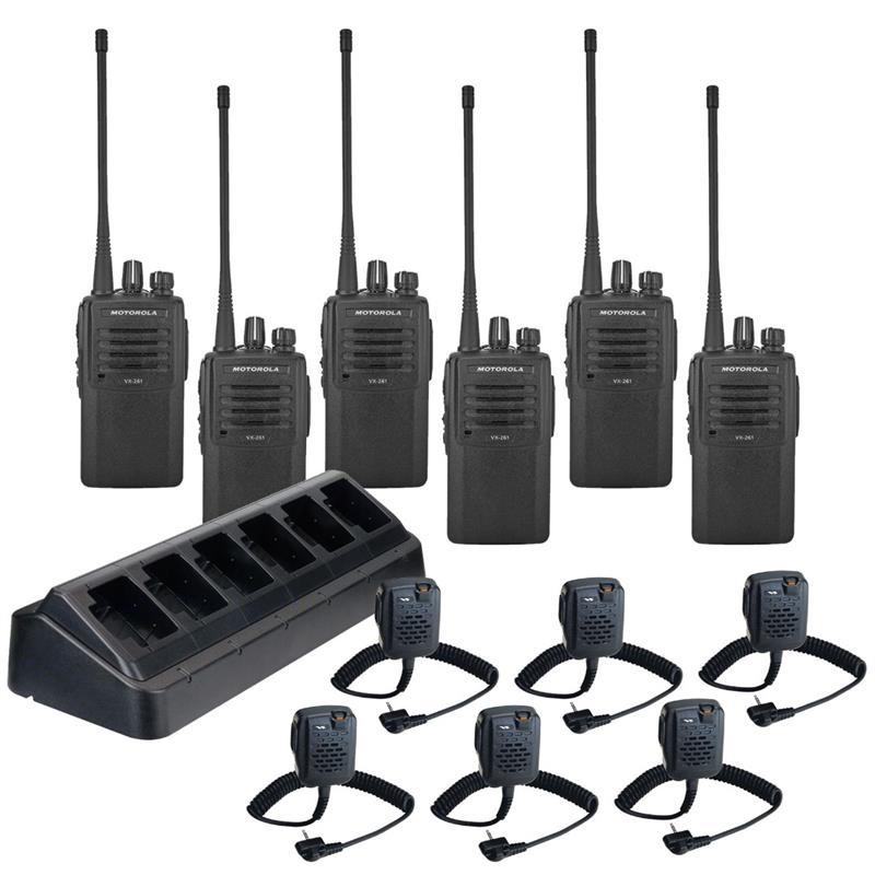 VX-261 6 Pack w Multi-Charger and MH-45b4b Speaker Mics