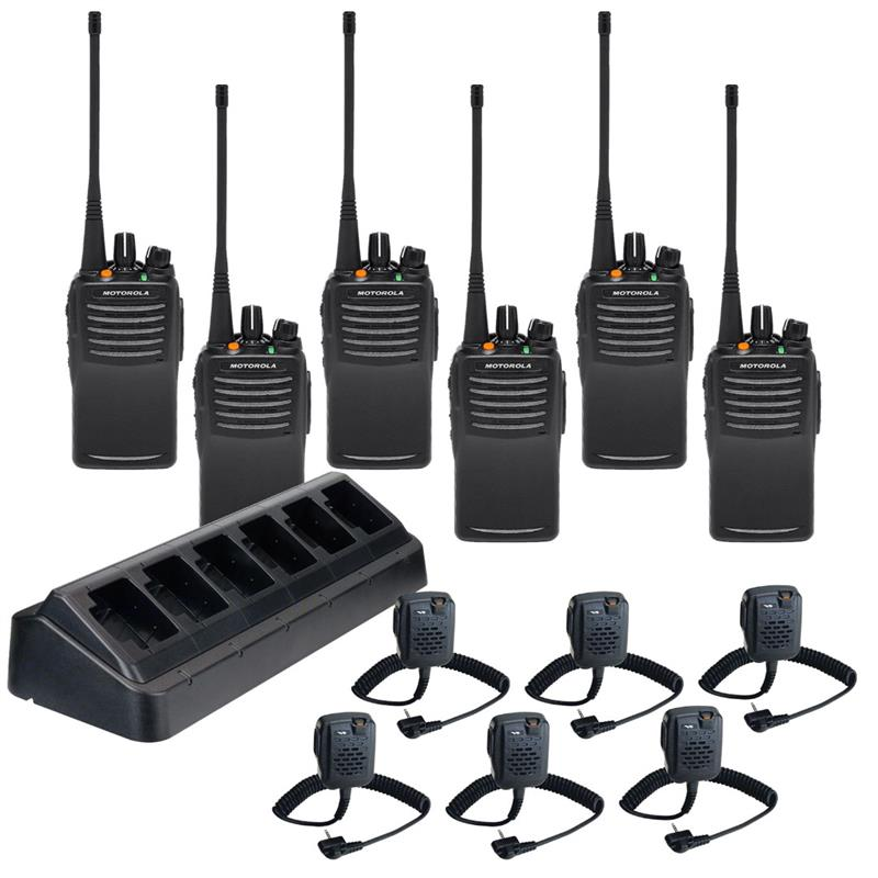 VX-451 6 Pack with Multi-Charger and MH-45b4b Speaker Mics