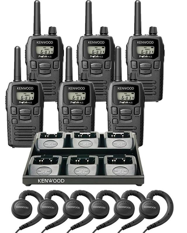Kenwood TK-3230DX 6 Pack with Multi-Charger and Headsets